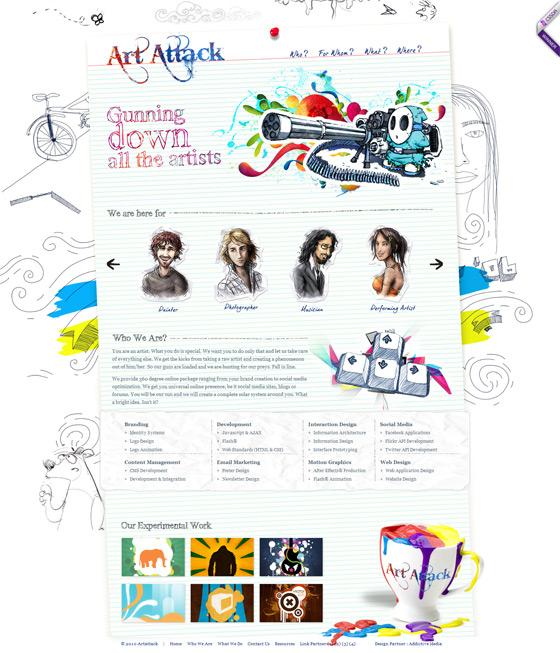 Art Attack Web Designers Folio Focus,Negative Space One Logo Design